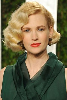Brides.com: 25 Wedding Hairstyles Inspired by Celebrities. January Jones' Retro Bob. January Jones is known for taking risks on the red carpet. Here, the Mad Men beauty got it right with this wavy, retro bob, a hairstyle that would suite any bride going for a vintage look. The red lips glam it up to the millionth degree.Browse more wedding hairstyle idea for short hair.