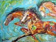 Original oil painting Wild Horses equine palette by Karensfineart