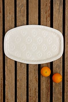 """""""RANDA"""" Oval Ceramic Serving Tray. http://www.greetingsfrommallorca.com/en/products/for-home/crochet-ceramic-oval-tray"""