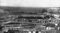 Earliest known photo of Los Angeles, circa 1862. The view looks east over the Los Angeles Plaza from atop Fort Moore Hill. Courtesy of the Photo Collection, Los Angeles Public Library.