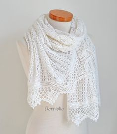 White lace crochet shawl  N305 by Berniolie on Etsy https://www.facebook.com/Berniolie-440248762699969/?ref=hl