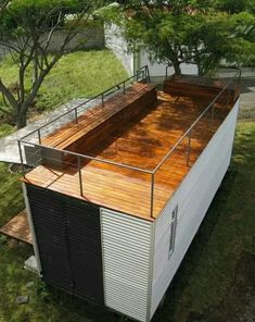 Container House - Rooftop deck on a shipping container home - Who Else Wants Simple Step-By-Step Plans To Design And Build A Container Home From Scratch? Building A Container Home, Container Buildings, Container Architecture, Sustainable Architecture, Contemporary Architecture, Residential Architecture, Architecture Design, Building Architecture, Beautiful Architecture