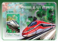 Post stamp São Tomé and Príncipe ST 14518 bSpeed trains (ZEFIRO 380, China)