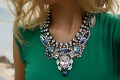 Rita Blues Blast Swarovski Crystals Statement Necklace by Bayila