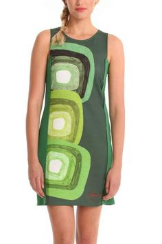 Desigual Women's Ellenq dress. Fitted short pinafore dress featuring our new print: our legendary concentric circles in the shape of squares. Wow!