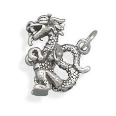 Sterling Silver Dragon Charm by jewelrymandave on Etsy, $34.99