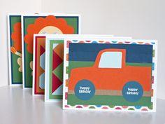 Set of Five Handmade Kids' or Children's Birthday Cards. via Etsy. #birthday #cards #handmade