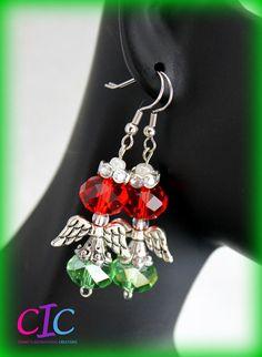 Handmade Red and Green  Christmas Angel Earrings by CICinspireme, $14.00 #earrings #angels #Christmas