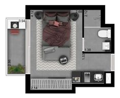 Mini House Plans, Unique House Plans, Small House Plans, Studio Apartment Floor Plans, Studio Apartment Layout, Bedroom Wall Colors, Bedroom Layouts, 2 Bedroom House Plans, Bedroom Size