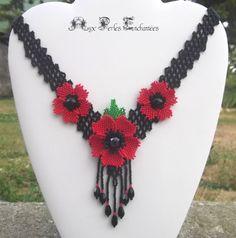 Celtic, Swarovski, Micro Macramé, Beaded Flowers, Bracelets, Poppies, Crochet Necklace, Creations, Beads