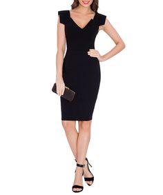Black V-neck fitted dress Sale - Goddiva