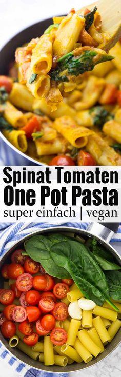 Einfache Nudel Rezepte gesucht? Diese One Pot Pasta mit Spinat und Tomaten sind super schnell gemacht, 100 % vegan und so lecker! Mehr vegetarische Rezepte und vegane Rezepte auf veganheaven.de! via @veganheavende