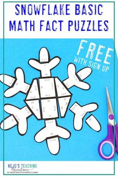 These snowflake math activities for kids are a great way to work on basic facts with 1st, 2nd, 3rd, 4th, or 5th grade classroom or homeschool students. Perfect for in person or remote / distance learning. Use for centers, stations, review, computer time, small group work, partners,