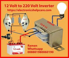 Here in this video, we can learn how to make simple inverter to step by step.using 12 voltage and getting 220 110 ac voltage. Home Electrical Wiring, Electrical Circuit Diagram, Electrical Projects, Electronic Circuit Design, Electronic Engineering, Electrical Engineering, Simple Electronics, Hobby Electronics, It Wissen