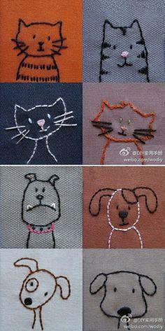 小猫小狗 缝在布上的图案