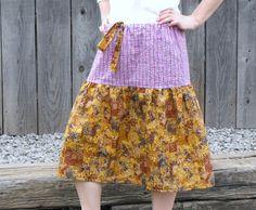 S/M drawstring skirt- purple seersucker and bronze abstract  100% cotton. $40.00, via Etsy.