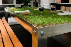 Que tal una mesa de césped de verdad para el salón?