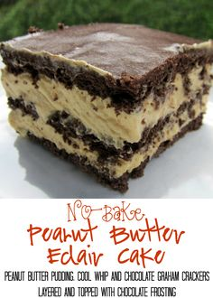 No-Bake Peanut Butter Eclair Cake Recipe - peanut butter pudding, cool whip and chocolate graham crackers layered and topped with chocolate frosting. It gets better the longer it sits in the fridge - it is just SO hard to wait to eat it. SOOO good. People go nuts over this easy dessert recipe!