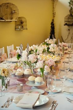 flowers and dessert make a delicious tablescape