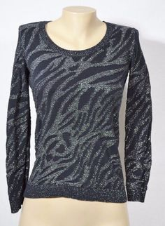 DANA BUCHMAN Black/Silver Patterned Sweater XS Long Sleeves Lightweight #DanaBuchman #Crewneck