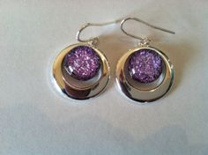 Dichroic Fused Glass and Silver Earrings by QuinceCottageGlass, $35.00