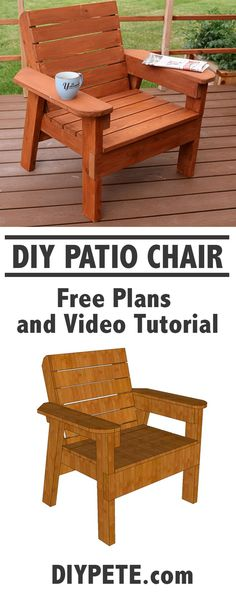 Simple to build DIY Patio Chair. Free plans, video tutorial, and a detailed post.