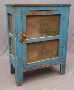 19th c. pie safe in vibrant blue paint