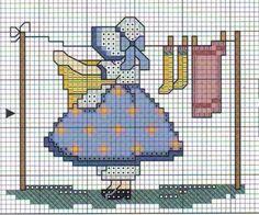 sunbonet ponto cruz uploaded by Lurielly on We Heart It Cross Stitch For Kids, Cross Stitch Kitchen, Cross Stitch Baby, Cross Stitch Charts, Cross Stitch Designs, Cross Stitch Patterns, Cross Stitching, Cross Stitch Embroidery, Embroidery Patterns