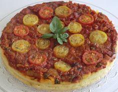 Tarte salée à la tomate et à la farine de pois chiches sans gluten et sans lactose