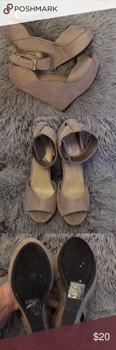 Charlotte Russe Wedges Suede 5 inch wedge heels. Some scuff marks from wear but still have a lot of life in them ✌🏽 Charlotte Russe Shoes Wedges