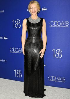Black shimmering Versace gown with Tiffany diamond collar