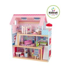 KidKraft 65869 Kaylee Wooden Dolls House with furniture and accessories included, 3 storey play set for 30 cm / 12 inch dolls Wooden Dollhouse, Wooden Dolls, Dollhouse Dolls, Dollhouse Ideas, Woodworking Assembly Table, Woodworking Supplies, Woodworking Plans, Woodworking Classes, Doll Furniture