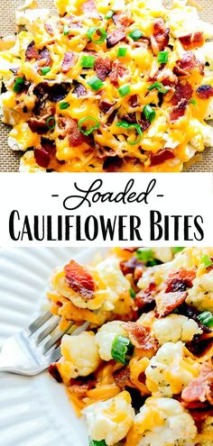 Loaded Cauliflower Bites - Cauliflower Recipes - Loaded Cauliflower Bites – a low carb alternative to potato skins! Bite-size pieces of cauliflowe - Low Carb Side Dishes, Veggie Side Dishes, Healthy Side Dishes, Vegetable Sides, Side Dish Recipes, Food Dishes, Healthy Dinner Sides, Side Dishes For Burgers, Bbq Chicken Side Dishes
