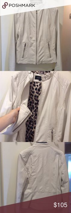 Brand-new white leather jacket Brand-new white leather jacket.  Leopard interior size small brand-new with tags and never worn Jackets & Coats