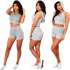 Hooded Cross Wrap Crop Top Short Two Pieces Set