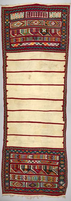 Africa | Blanket ~ houli~ from Gafsa, Tunisia | ca. 1950 - 60s | Wool; Weft-faced; interlocking tapestry woven; fringed