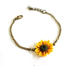 Yellow Sunflower Bracelet, Sterling Silver, Sunflower Bracelet, Yellow... ($20) ❤ liked on Polyvore featuring jewelry, bracelets, sunflower jewelry, sterling silver jewellery, yellow jewelry, sterling silver bangles and sterling silver jewelry