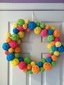 Dollar store craft -- use Easter egg dying kit to dye a pack of craft balls from dollar store.
