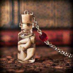 2014 Halloween Vampire Fangs in a Jar - Corked Bottle Necklace  #2014 #Halloween