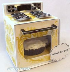"""Cupcake in the 'oven'... well isn't that a cute way to wrap up a sweet... could be cute favors for baby shower """"bun in the oven""""... or way of annoucing pregnancy to family and friends :)"""