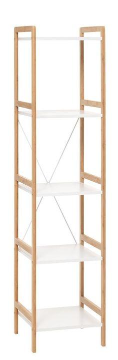 Regál BROBY 5 polic úzký bambus/bílá | JYSK