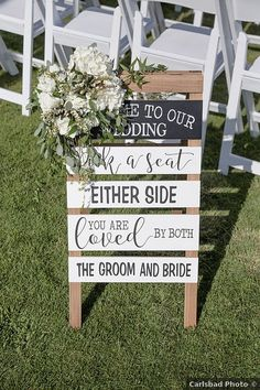 """White wood plank sign that says """"welcome to our wedding, pick a seat either side you are loved by both the groom and bride"""" Welcome To Our Wedding, Wedding In The Woods, Casual Fall Wedding, Carlsbad Beach, Pick A Seat, Wedding Signage, Signature Cocktail, California Wedding, White Wood"""