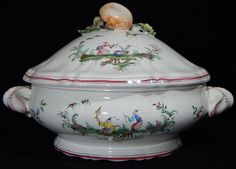 French Faience Moustiers Large Covered Dish Chinoiserie | eBay