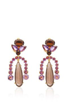 Amethyst And Carved Smoky Topaz Clip On Earrings  by BOUNKIT Now Available on Moda Operandi