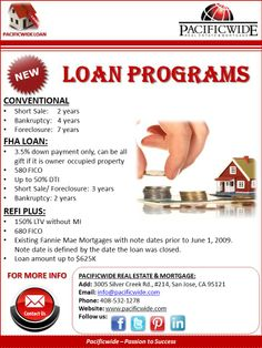 Dream Home Buyers! If you're planning to apply for LOAN, you should not miss these new programs. Need more counsel? Feel free to contact our Loan Manager (MinhChau, 408-393-2068) or our office 408-532-1278! Thank you!