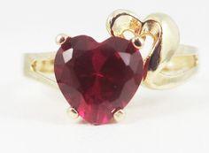 Ruby Gold Ring Heart Cut Solid 14 Karat Bazaars R Us Custom Jewelry $570