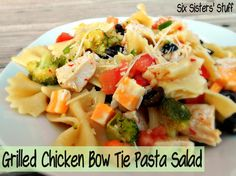 Grilled Chicken Bow Tie Pasta SaladGrilled Chicken Bow Tie Pasta Salad Ingredients: 1 (12 oz) package bow tie (farfalle) pasta, uncooked 2 cups fresh broccoli florets 2-3 grilled chicken breasts, cut into bite-size pieces (or you could use a rotisserie chicken or any kind of cooked chicken you have available) 1 cup halved cherry tomatoes OR 1 large tomato cut into chunks 1 green pepper, cut into small pieces 1/2 of a 16 oz bottle of Italian salad dressing (we love Wishbone Robusto Italian) 4…