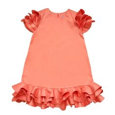 cotton, spandex coral dress with multi-ruffled sleeves and bottom. By Moque Little Girl Dresses, Girls Dresses, Girls Tulle Skirt, Ruffle Dress, African Dresses For Kids, Baby Dress Patterns, Coral Dress, Cute Outfits For Kids, Fashion Kids