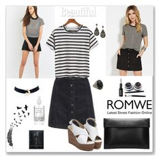 """""""Romwe Striped T-shirt"""" by ludmyla-stoyan ❤ liked on Polyvore featuring Sparkle & Fade, Forever 21, NYX, blackandwhite, romwe and striped"""