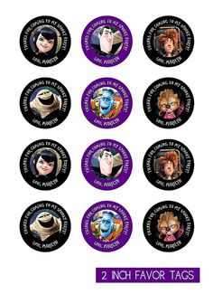 Hotel Transylvania 2 Inch Favor Tags / Cupcake Toppers - Personalized with your Info - You Print on Etsy, $5.00